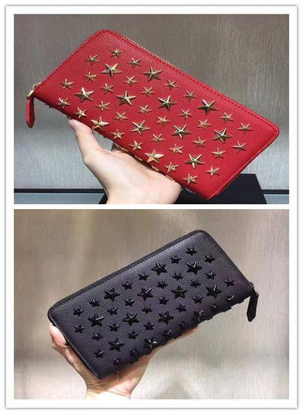 Fashion Stars studded rivets lovers zipper pocket wallet carteira high quality money bag Genuine leather lovers handbag new arrival