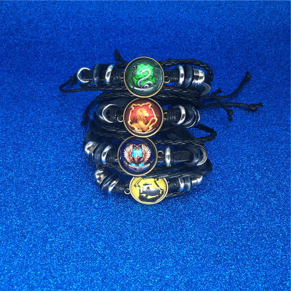 top popular Book Hogwarts Gryffindor Slytherin Hufflepuff Ravenclaw Badge Bracelets Multilayer Wrap Bracelet Glass Cabochon Jewelry Will and sandy 2019