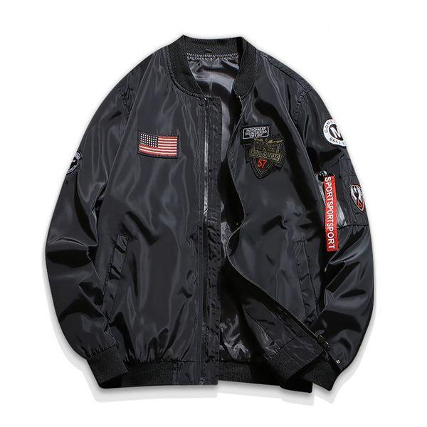 drop shipping 2018 new autumn slim fit men bomber jacket thin pilot outwear amry coat s-3xl axp176