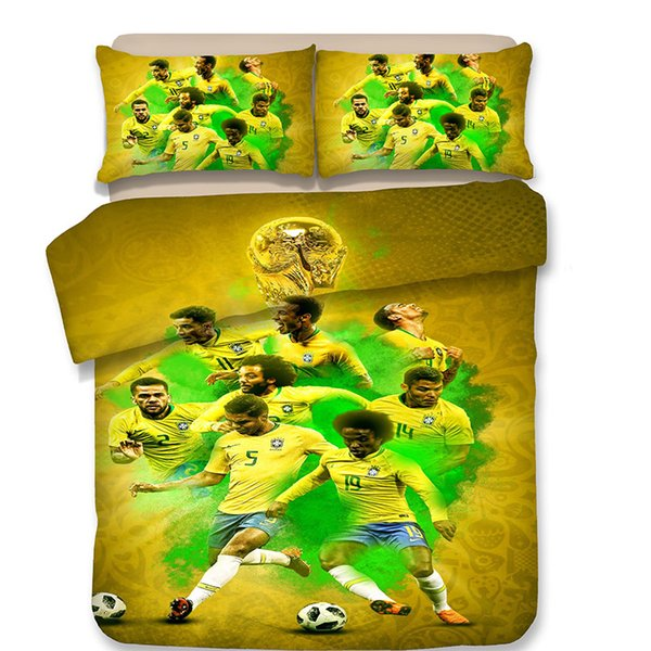 3 Designs World Cup Football Pattern Bedding Set 3PC Duvet Cover Set Of Quilt Cover & Pillowcase Twin Full Queen King Size