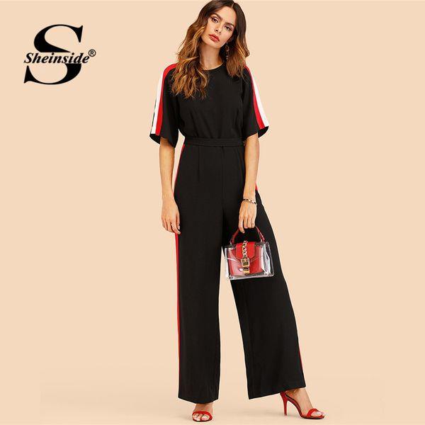 Sheinside Black Half Sleeve Striped Side Wide Leg Jumpsuit Ladies Work High Waist Colorblock Tie Back 2018 Women Jumpsuits