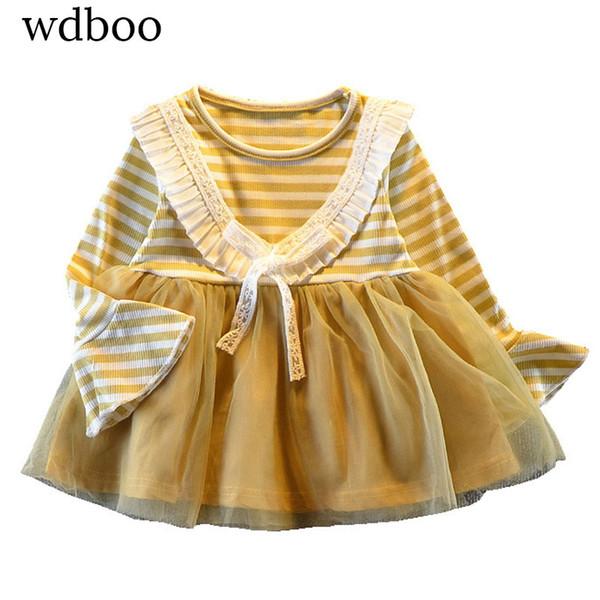 WDBOO Infant Ballkleid Flare Langarm Gestreiften Voile Prinzessin Kleid Mädchen Geburtstag Jahrestag Geschenk Kleidung V Rüschen Brust Robe
