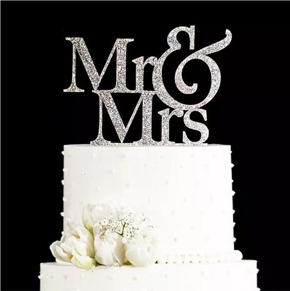 Glitter GoldenSilver Mr and Mrs Cake topper boda Elegante boda Decoraciones Pastel de boda Decoraciones Regalos Favores Suministros