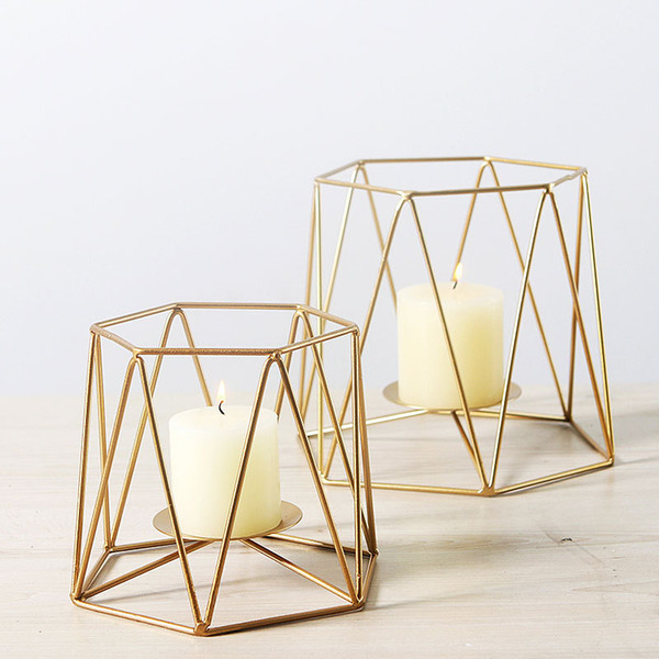Geometric Metal Candle Holder Modern Gold Iron Candle Stand Nordic Simplicity Home Decor for Wedding Dining Events