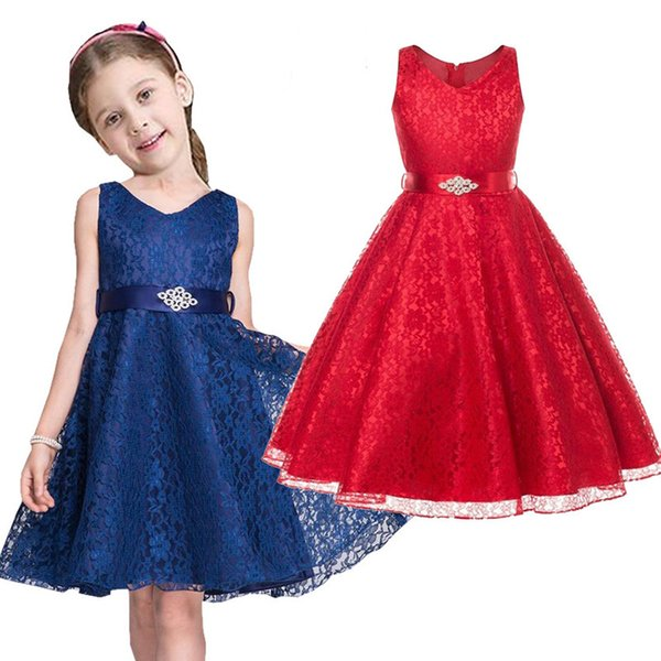 Fashion Lace Girls Full Dress Children Evening Ball Gown Girl Wedding Clothes Sleeveless Hollow Kids Formal Attire Vestidos Outfits 3-9Years