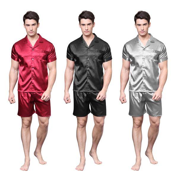 TonyCandice Satin Silk Pijamas Shorts Para Homens Rayon Seda Pijamas de Verão Conjunto de Pijama Macio Camisola Para Homens Pijama