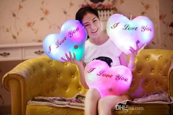 Luminous Star Heart Glowing Pillow Christmas Toys For Children Led Light Plush Cushion Star Pillow Kids Toys For Girls c108