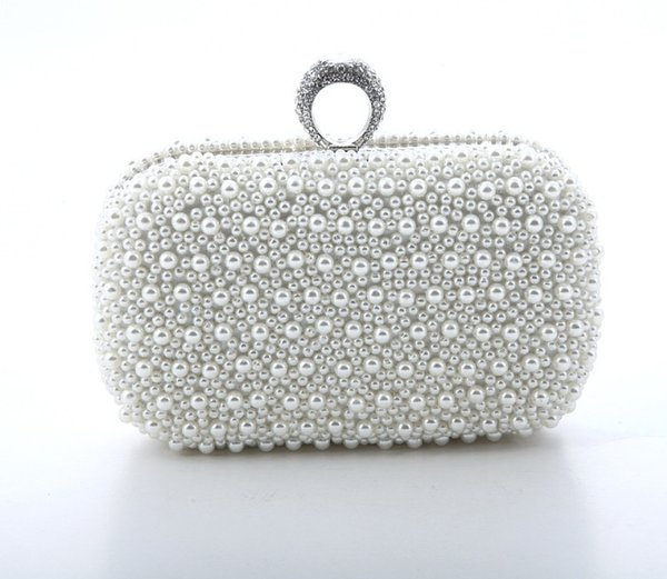 Hand made beautiful beaded ivory Bridal Handbag Wedding Bag Pearl in Women's Handbags Banquet Evening Party Prom Clutch Bag