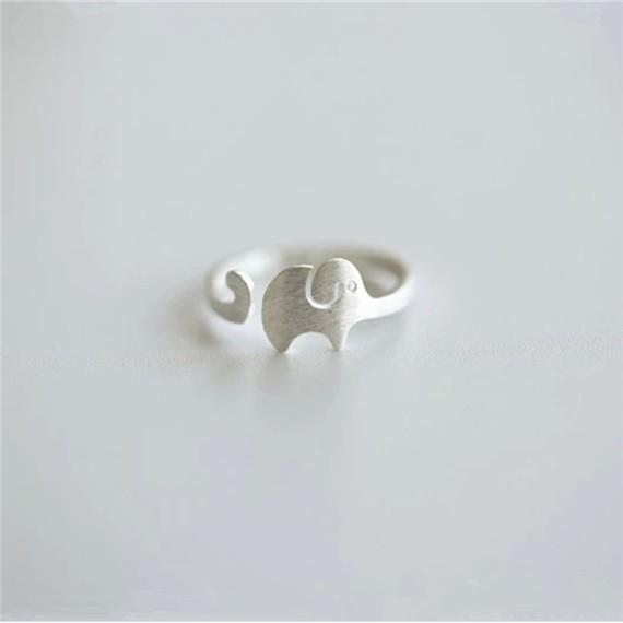 5pc cute elephant baby adjustable ring small elephant tail ring animal lady pet charm ring for little princess wedding lucky happy jewelry