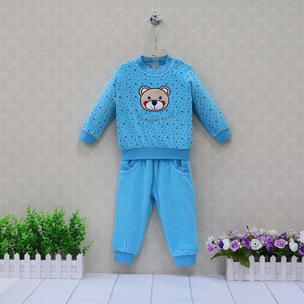 Velour Sports Children's Clothes Outfits Baby Causal Long Sleeve Blouse+Long Pants 2pcs/set Kids Costume Sleepwear Little Q Clothing Sets