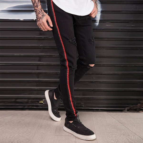 HOT 2018 Fashion Casual High street hip hop Slim men's jeans foot ankle striped Ripped hole dance nightclub men's trousers