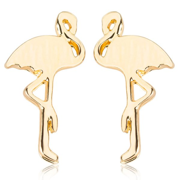 20Pairs/Lot New models creative animals earrings alloy flamingos ear studs gold plated korean simple style women earring wholesale