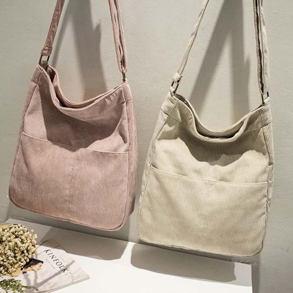 Fashion White Black Grey Red Corduroy Canvas Shopping Shoulder Bag For Girl Women Autumn Winter