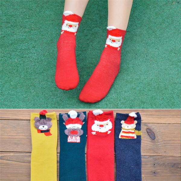 Noel Kadınlar Kız Casual Çorap Pamuk Kadınlar Için Sıcak Çorap Baskı Sevimli Rahat Noel Hediyesi Toptan 30OT15