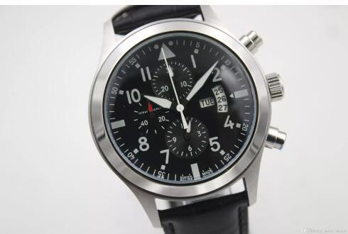 Reloj de hombre de lujo de alta calidad IW Pilot 377701 Serie Negro Dial de multifunción con calendario 40MM Correa de cuero negro Mecánico automático