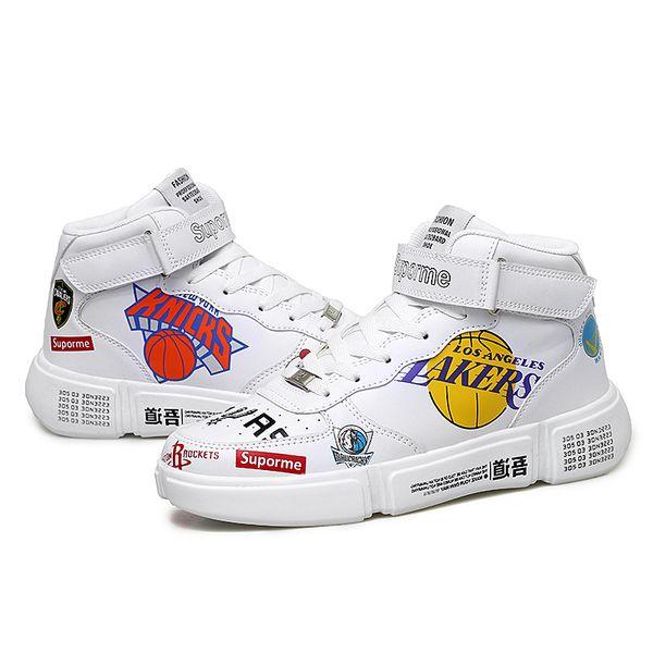 Zapatillas deportivas de moda para hombre Zapatillas de deporte blancas respirables Hombres Patrón de equipo de Lakers Casual WORRIORS Zapatillas de tenis Krasovki Boys