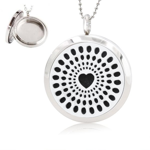 New Heart (30mm) Aromatherapy / Essential Oils surgical Polish Twist Screw 316L Stainless Steel Perfume Diffuser Locket Necklace