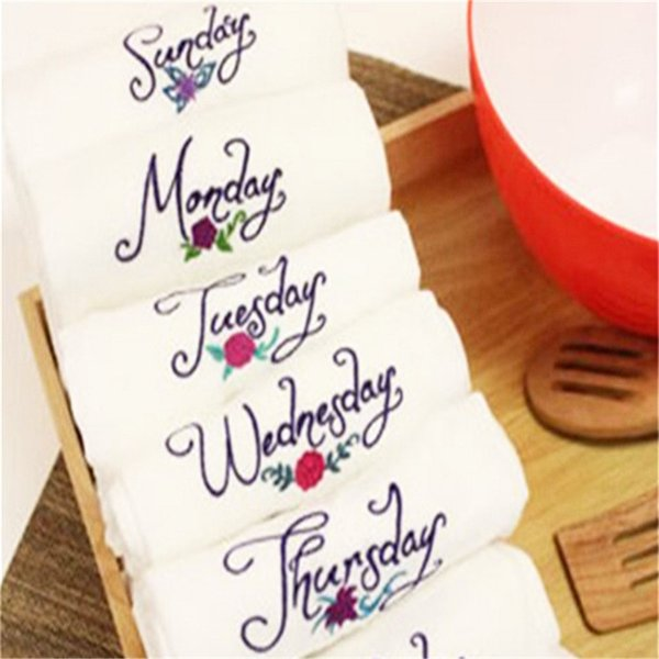 7pcs New products from Monday to Sunday week series of small fresh style home cotton fabric embroidery napkin pad