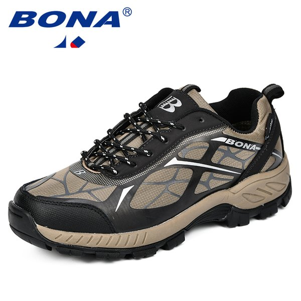BONA Outdoor Sports Camping Shoes Men Tactical Hiking Shoes For Summer Breathable Waterproof Coating Men Athletic