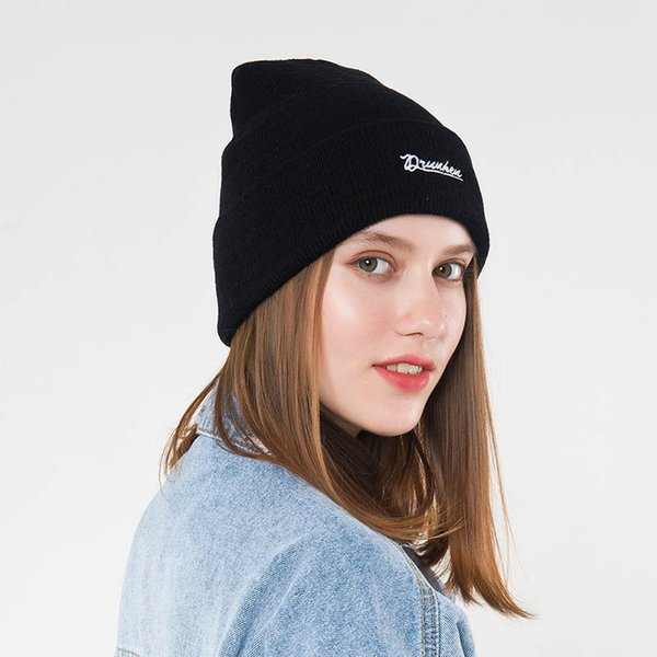 2e89362092f His-and-hers Hat Outdoor Warm Set Head Cap Hotsales Letters Embroidery Knitted  Cap