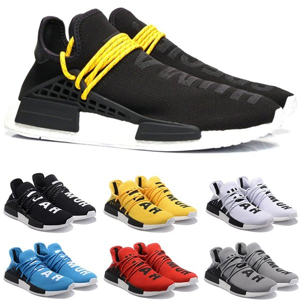 Acheter Adidas NMD Human Race Boost Course Course Humaine Chaussures Hommes Femmes Pharrell Williams HU Runner Jaune Noir Blanc Rouge Gris Bleu Pas