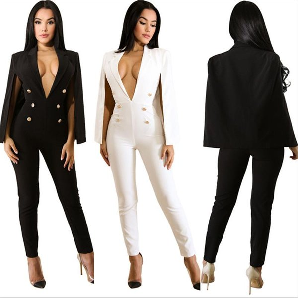 2018 Sexy elegant slim formal Jumpsuits rompers women skinny long pants cape deep v-neck button business playsuit women overalls