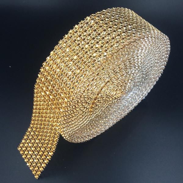 "1 .5 ""X10 Yards Wedding Wrap Mesh Bling Ribbon Home Table Party Decorations Rhinestone Crystal Gold Diamond Mesh Diy Type"