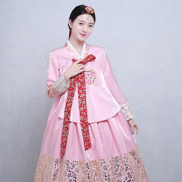 Alta Qualidade Coreano Traje Tradicional Mulheres Coréia Hanbok Vestido Nation Roupas de Dança de Palco Vestido Asiático