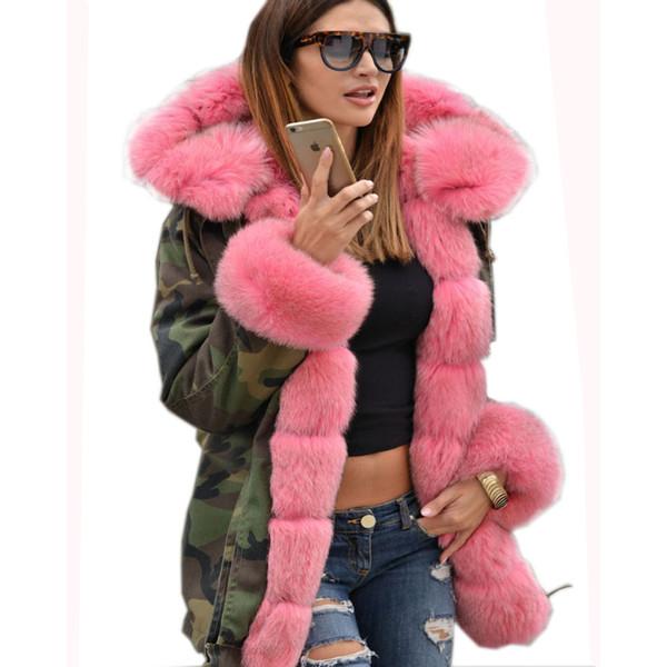 Roiii 3xl L Pink Xxl Kapuze Us Parka Camouflage Mantel Verdickt Fur Größe S18101505 Mit Frauen Lange Winterjacke S Plus Großhandel M Xl Von Faux 8OyvmnN0wP