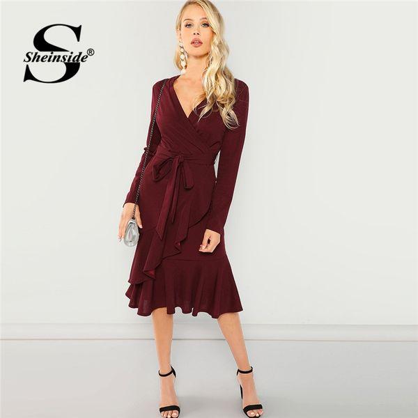 f8c539477a Sheinside Burgundy Elegant Tie Waist Ruffle Hem Surplice Wrap Dress V Neck  2018 Autumn Office Ladies