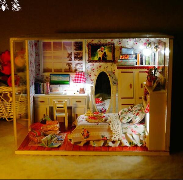Bricolaje kits de casa de muñecas 3D muebles de madera hechos a mano bricolaje casa de muñecas en miniatura modelo de construcción decoración del hogar-