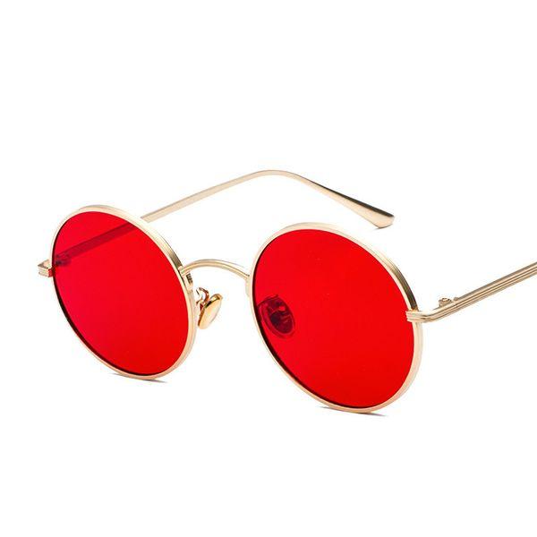 2018 Vintage Punk Sunglasses Donna uomo Retro Round Occhiali da sole Donna Lense rossa Montatura in metallo Occhiali Rivestimento Occhiali UV400