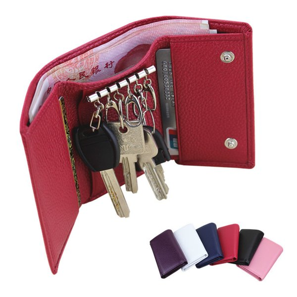Direct selling leather key bag-multi-function lady's key bag short 70% discount card zero wallet