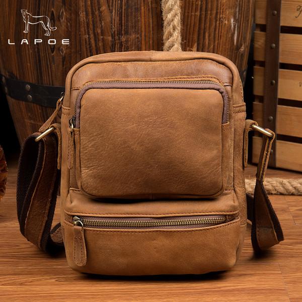 LAPOE 100% top cow genuine leather versatile casual shoulder men messenger bags for men leather handbags mini bag brown