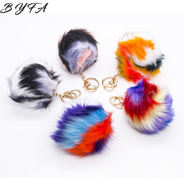 1pc Artificial Rabbit Fur Fluffy Pompom Ball Key Chains Cute Women Handbag Car Pendant Charm Bag Ring Jewelry Accessories