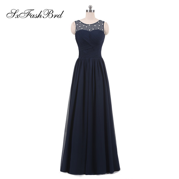 New Elegant Ruffle O Neck With Beading A Line Chiffon Long Party Formal Evening Dresses for Women Prom Dress Gowns