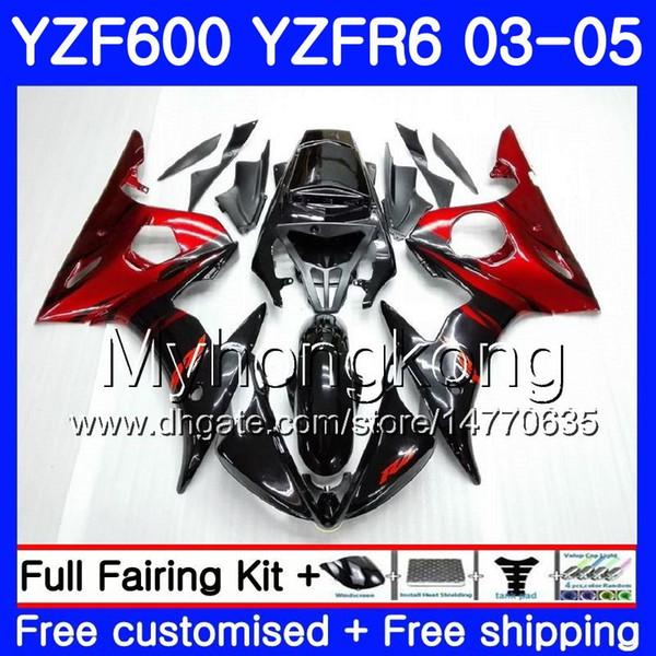 Corps pour YAMAHA YZF600 YZF R6 03 04 05 YZFR6 03 Carrosserie 228HM.0 YZF 600 R 6 YZF-600 YZF-R6 2003 2004 2005 Kit de carénage flammes noires
