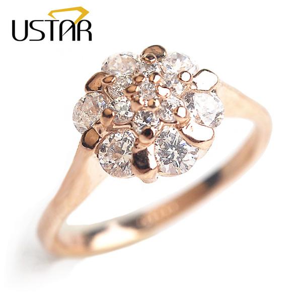 USTAR Flor Zircão Anéis de casamento para as mulheres jóias Áustria Cristais Rose Gold cor anéis de noivado Feminino Anel bijoux presente