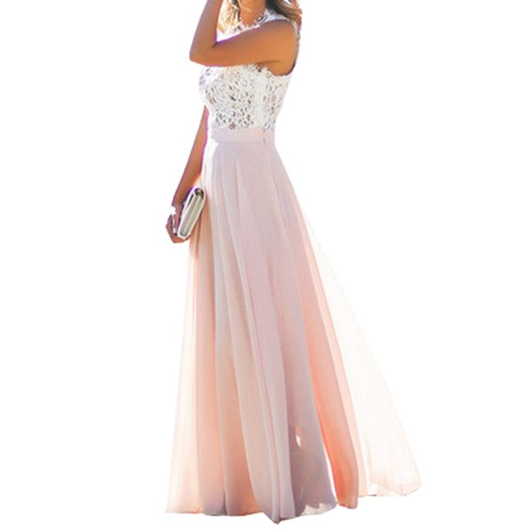 2018 Spring And Autumn Evening Party Hollow Out Beach Dress Womens Boho Sleeveless Maxi Dress Party Dresses