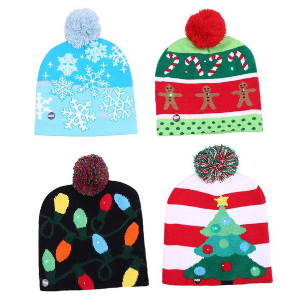 best selling 4 Styles LED Light Knitted Christmas Hat Unisex Adults Kids New Year Xmas Luminous Flashing Knitting Crochet Hat Party Favor SN1667
