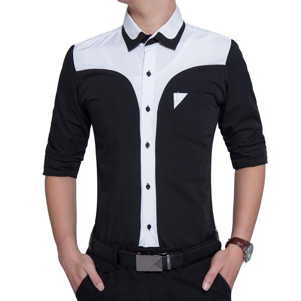 Marca 2018 Moda Camisa Masculina de Manga Larga Tops Oversize Trajes de Negocios Hit Colores Camisa Camisas de Vestir Hombres Delgados 3XL