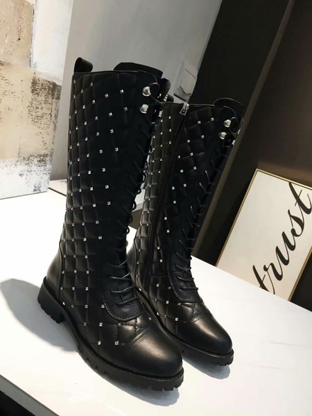 later shades of special for shoe Valentinu Black Real Leather Knee High Boots Flat Heel Fall Winter Rivets  Moto Boots Boots Office Shoes From Crosmall2018, $123.62| DHgate.Com
