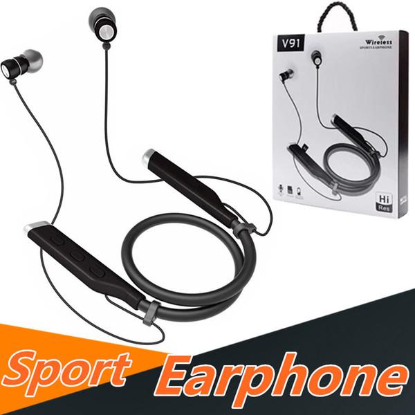 V91 Bluetooth Kopfhörer Sport V4.2 Chip Stereo Metall Magnetische Drahtlose Kopfhörer Headsets Neackbands Freisprecheinrichtung Für Samsung iphone