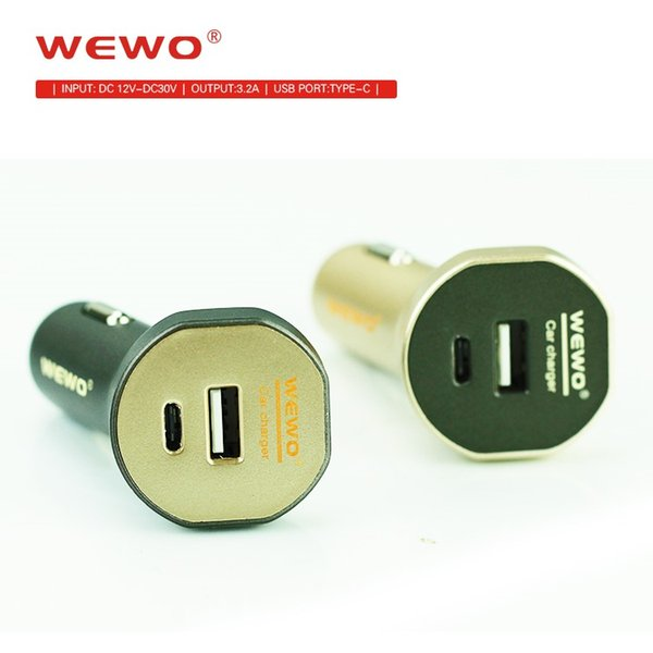 Wewo Car Charger With Type C USB Dual Port 3.2A Output Fast Charging For iPhone Micro Usb Type C Cable Phone Charger Portable Travel Charger
