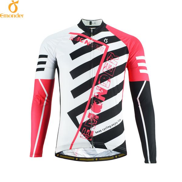 EMONDER Radfahren Jersey Langarm Herbst Hohe qualität Atmungsaktiv Benutzerdefinierte MTB / Rennrad Fahrradbekleidung Jacke Ropa Ciclismo