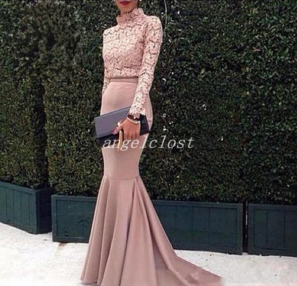 vestidos de noche Blush Mermaid Evening Dresses 2018 High Neck Long Sleeve Sweep Train Lace Formal Prom Party Gowns Red Carpet Wear