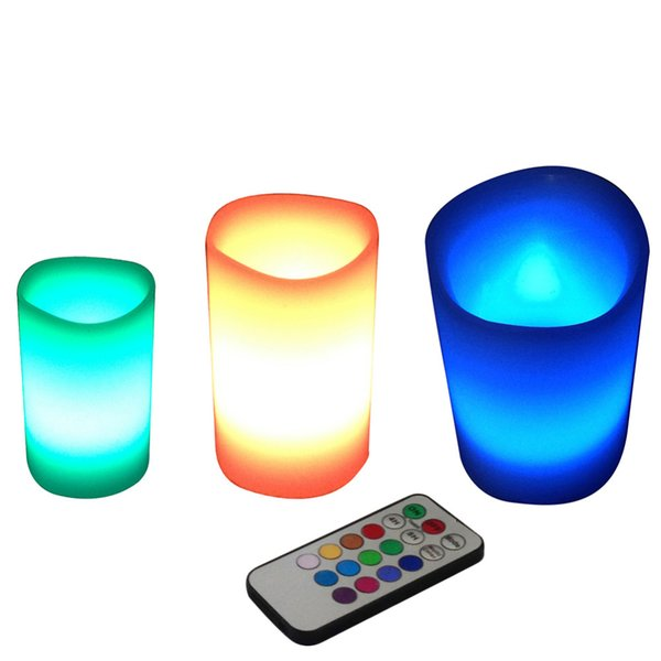 3pcs /Lot Colorful Changing Colors Rgb Led Flameless Paraffin Wax Candles 18keys Remote Controller Wedding Christmas Decor