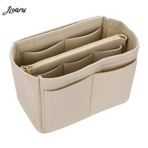 Women Make Up Bag Felt Cloth Insert Bags Multifunctional Handbag Cosmetic Organizer Toiletry Handbags Ladies Travel Organizer