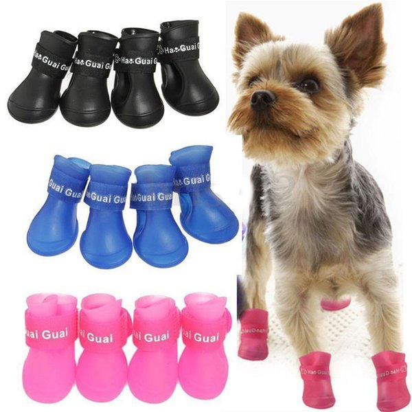 4pcs/set Dog's Shoes Colorful Dog Puppy Pet Shoes Boots PU Silica Gel Waterproof Pet Rain Boot Anti-Slip Shoes Pet Products