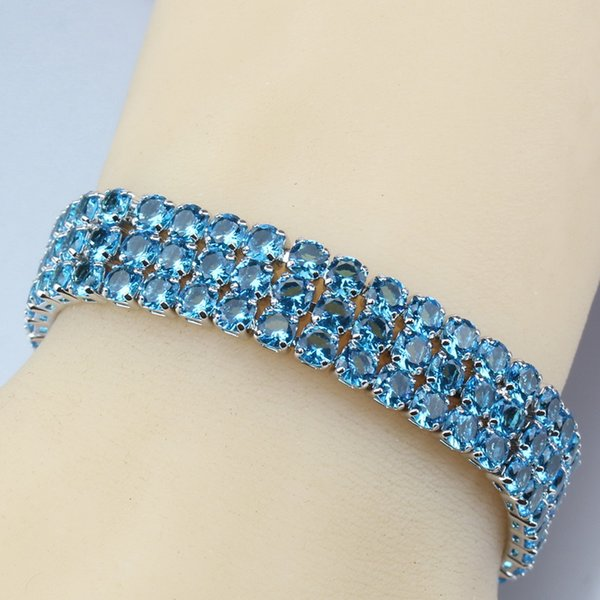 Sea Blue Crystal Adjustable Link Chain Bracelet Length 19.5CM 925 Sterling Silver Jewelry For Women/Girl Gift Box